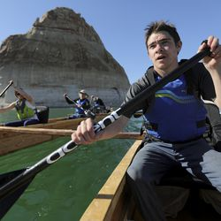 Peyton Benjamin Koehl paddles with the Utah Schools for the Deaf and the Blind Yacht Club on Lake Powell on Saturday, March 27, 2021. Koehl, a 17-year-old from Cedar City, is hearing impaired. He and his team are training for the SEVENTY48, a 70-mile human-powered boat race from Tacoma to Port Townsend, Wash. Members of the yacht club built their boat for the race by hand.