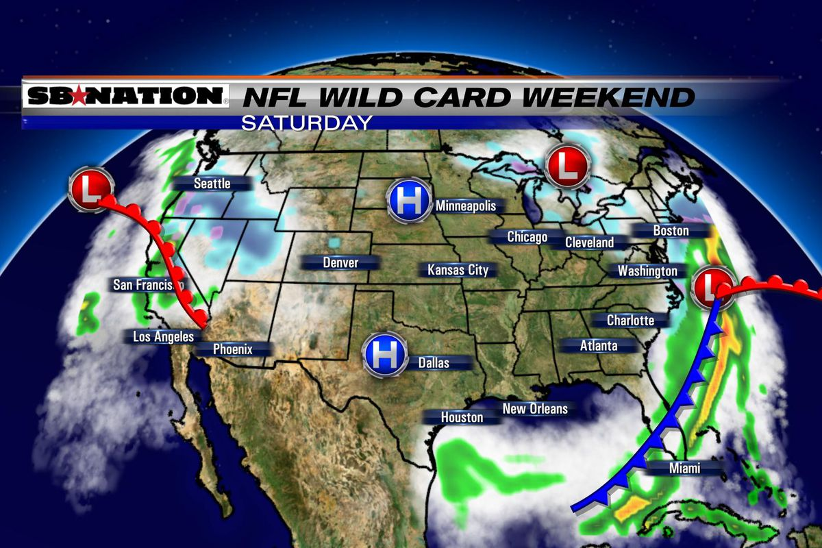 Weekend Weather Map NFL weather forecast, Wild Card Weekend 2017: Sunday's games are