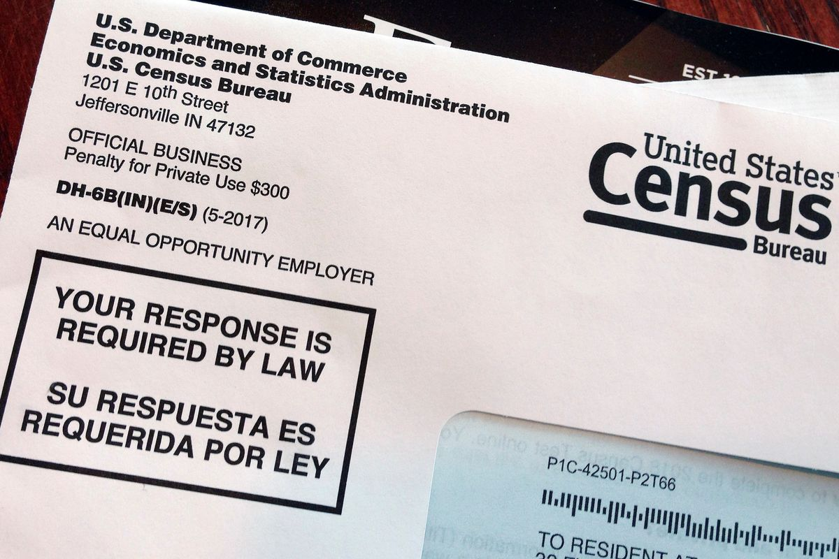 FILE - This March 23, 2018 file photo shows an envelope containing a 2018 census letter mailed to a resident in Providence, R.I., as part of the nation's only test run of the 2020 Census. A Trump administration plan to include a citizenship question on th