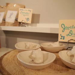 "Ceramic jewelry dishes, $28 at East Passyunk Avenue's <a href=""http://www.occasionette.com/"">Occasionette</a>."