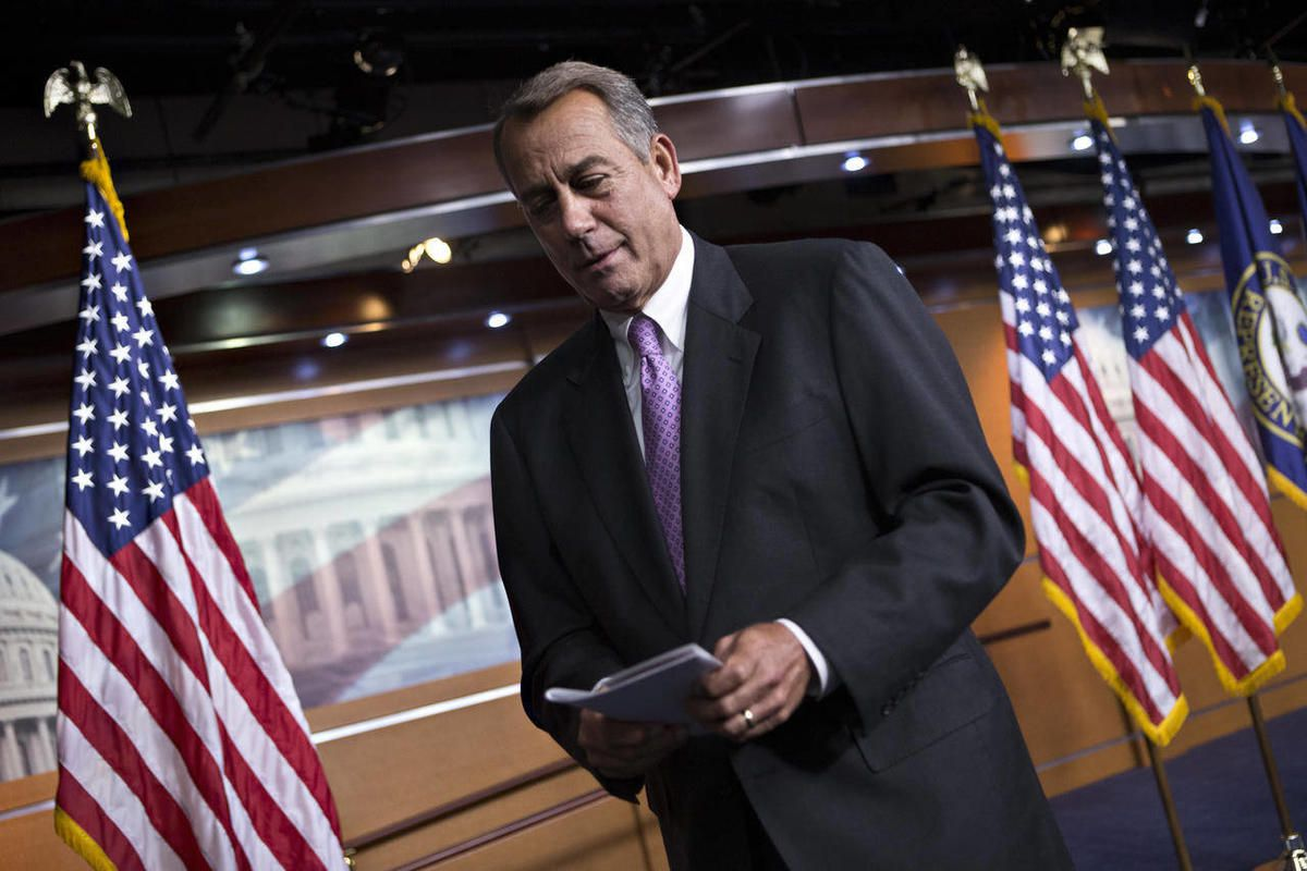 FILE - In this Sept. 21, 2012, file photo Speaker of the House John Boehner, R-Ohio, leaves after meeting with reporters Capitol Hill in Washington as Congress prepares to shut down until after elections in November. Lawmakers will return in roughly seven