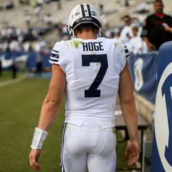 Brigham Young Cougars quarterback Beau Hoge (7) leaves the field after losing 40-6 to the Wisconsin Badgers at LaVell Edwards Stadium in Provo on Saturday, Sept. 16, 2017.
