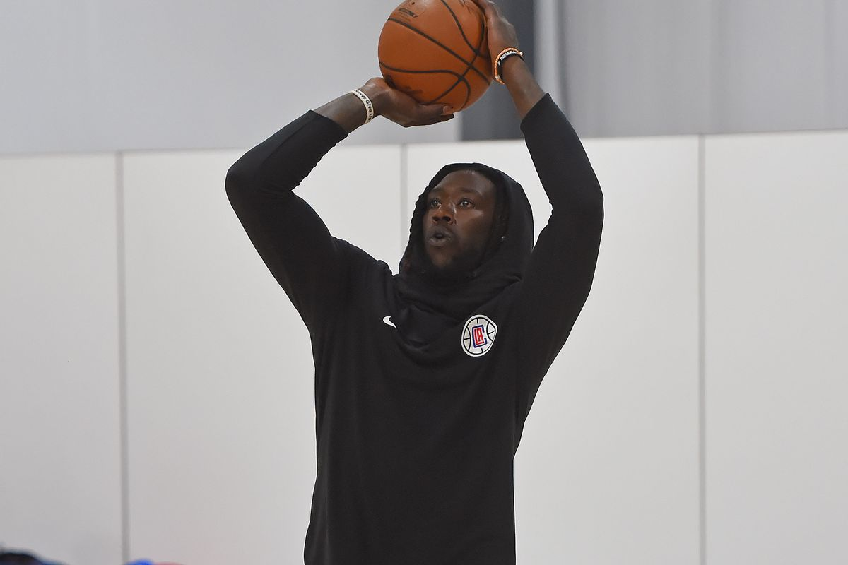 Montrezl Harrell of the LA Clippers shoots the ball during practice as part of the NBA Restart 2020 on July 13, 2020 in Orlando, Florida.