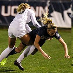 Sequence of #3 Rachel Hill getting fouled by UCF's #20 Julia Ekholm.