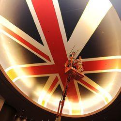 The Union Jack overhead at Gordon Ramsay Steak.