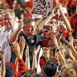 Utah Utes head coach Kyle Whittingham as the University of Utah defeats BYU 24-21 in football Sunday, Sept. 16, 2012, in Salt Lake City, Utah.