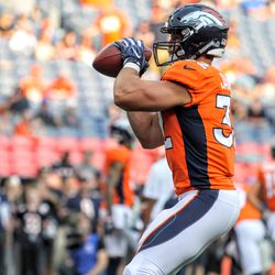 Broncos FB Andy Janovich makes a catch during pregame warmups.
