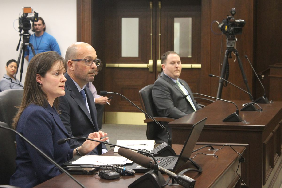Tennessee Education Commissioner Candice McQueen testifies before state lawmakers about technical problems that stalled students' online TNReady tests in April of 2018, while Questar executive Brad Baumgartner listens.