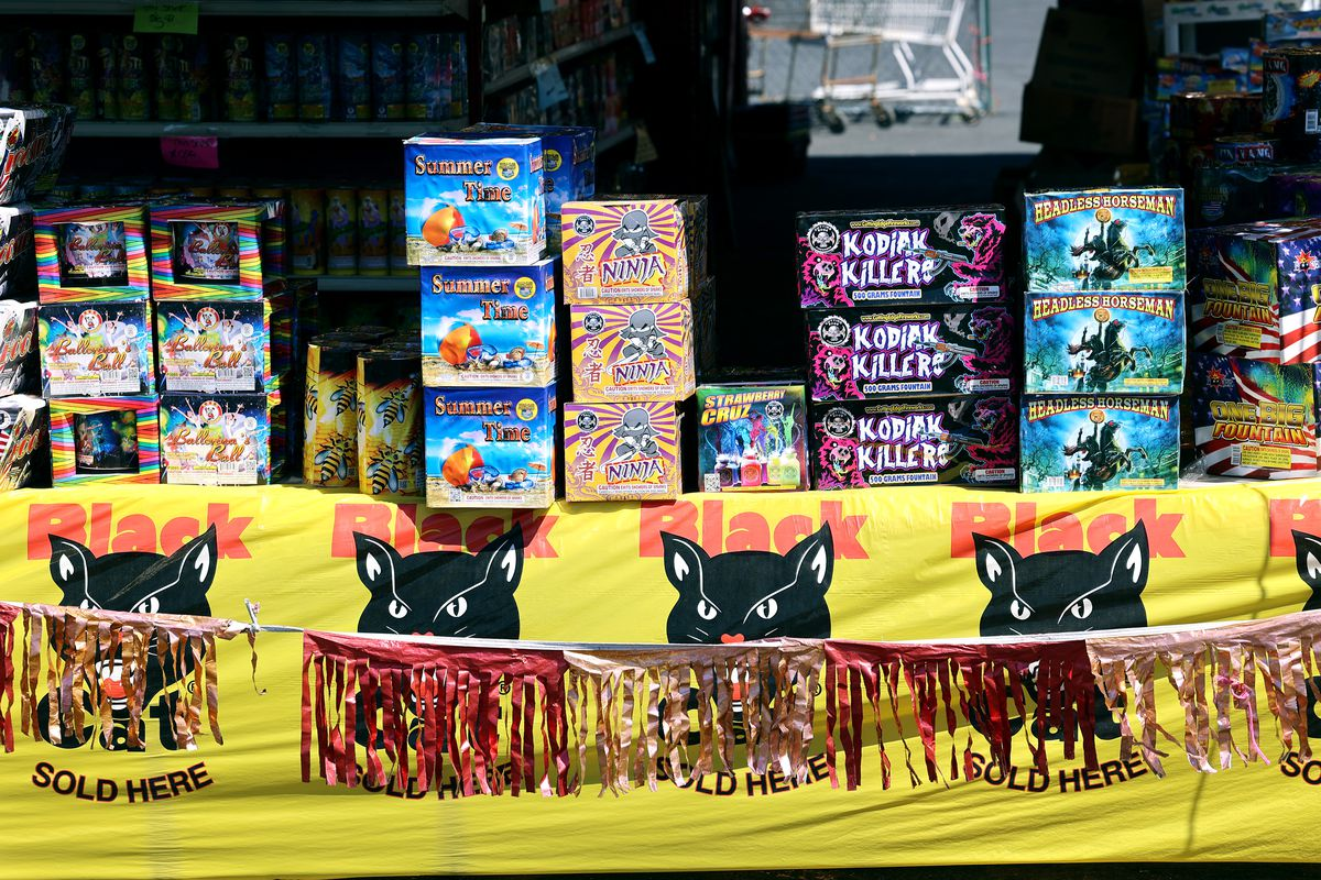 Fireworks sit on tables at Mad Matt's Fireworks on the corner of 9000 South and State Street in Sandy on Monday, June 28, 2021.