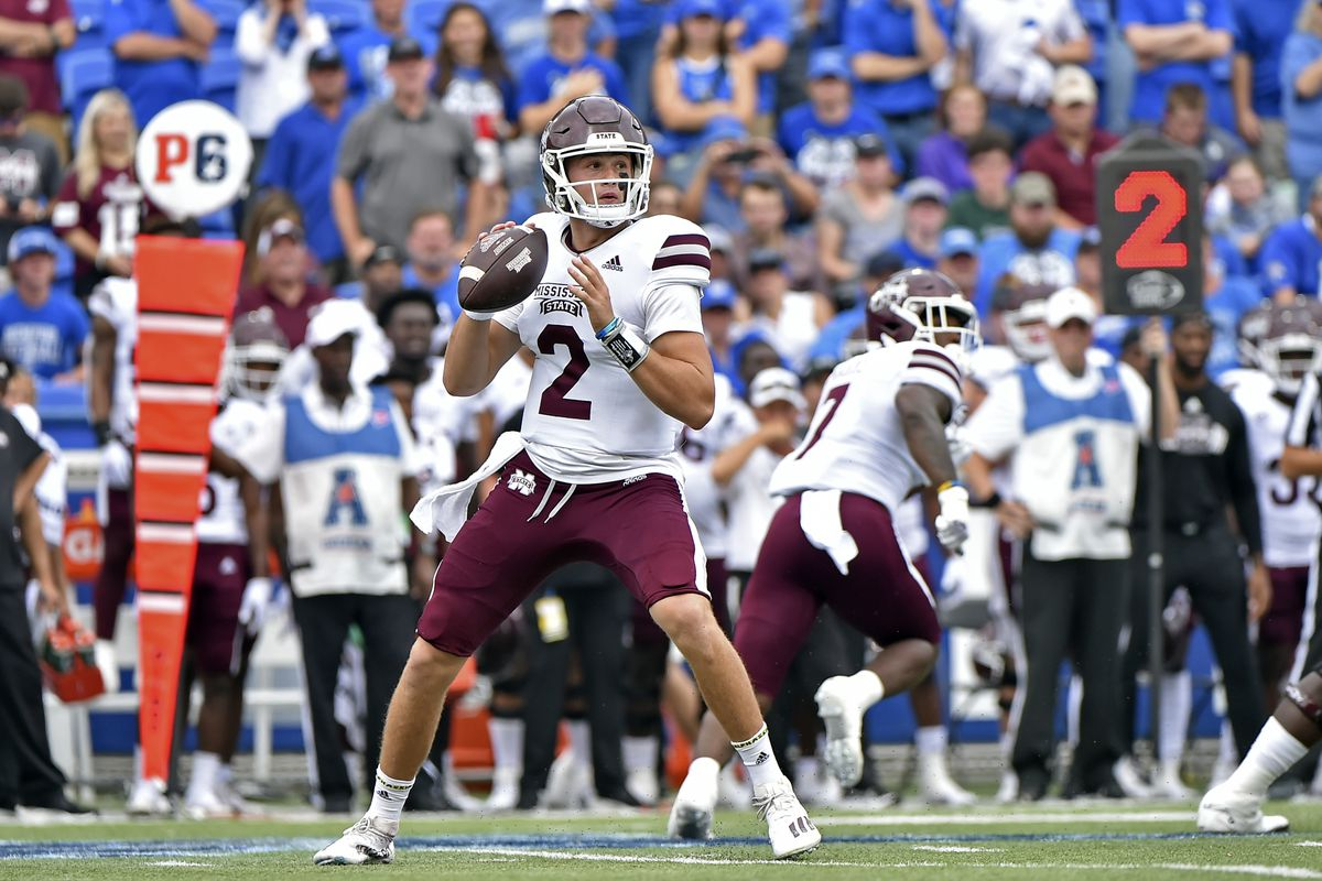 Mississippi State Bulldogs quarterback Will Rogers (2) looks to pass during the first half against the Memphis Tigers at Liberty Bowl Memorial Stadium.
