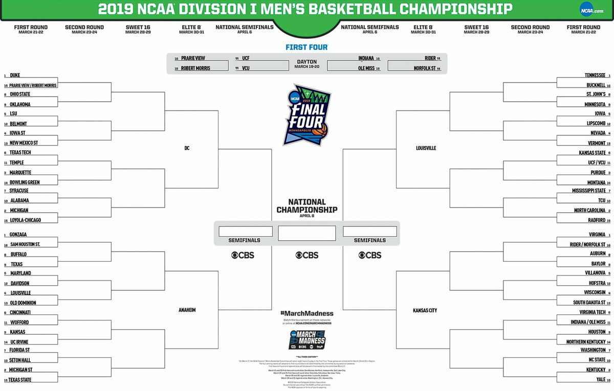 2019 Ncaa Tournament Bracket Schedule Teams For March: NCAA Releases Top 16 Seeds, Full Bracket