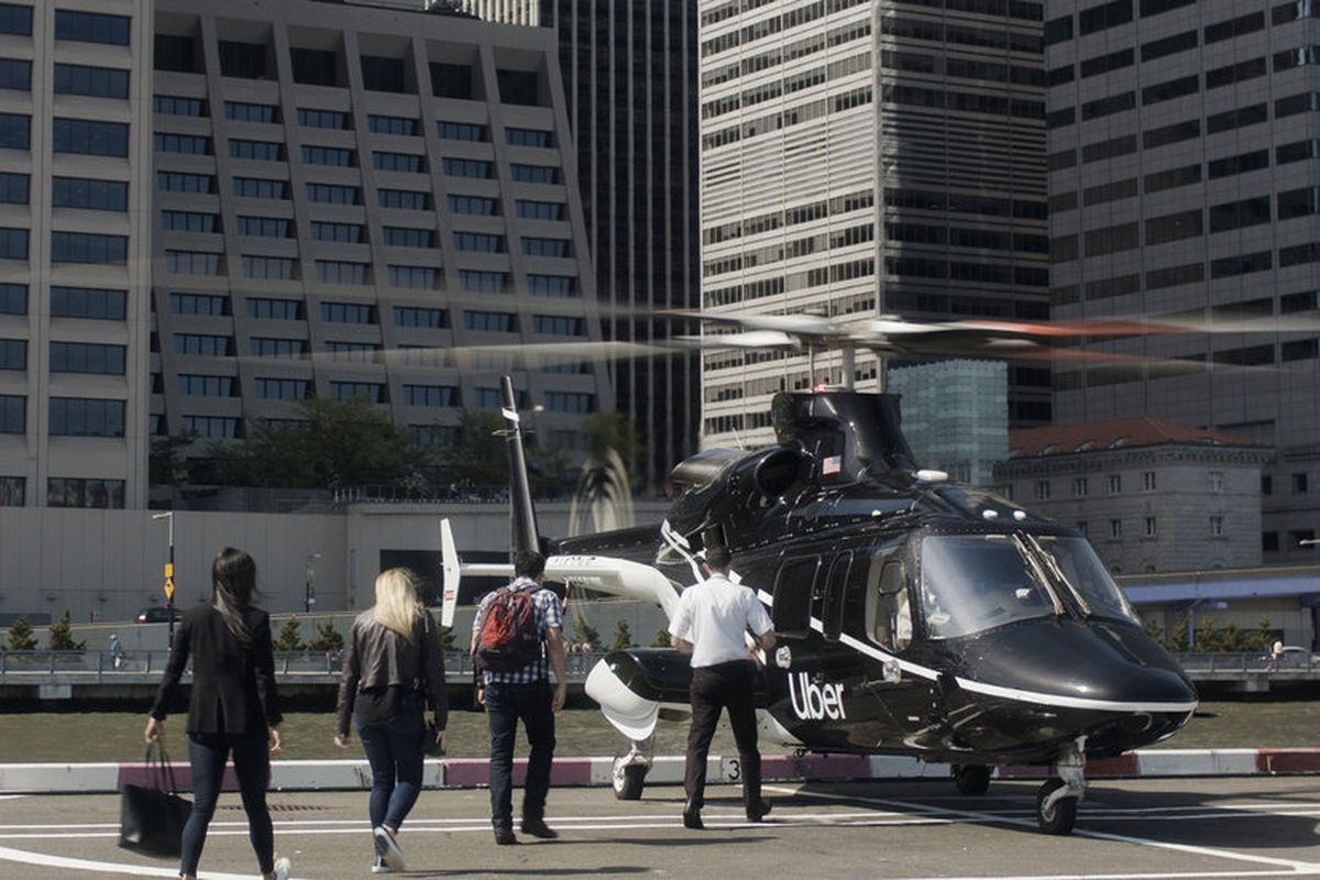 Uber Copter at a Manhattan helipad