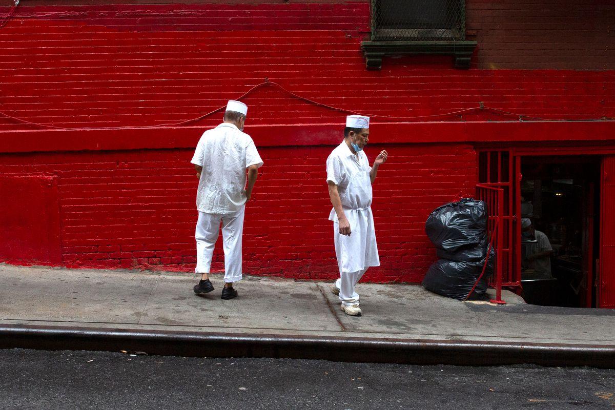 Manhattan Chinatown restaurant workers take a break, Sept. 2, 2020.