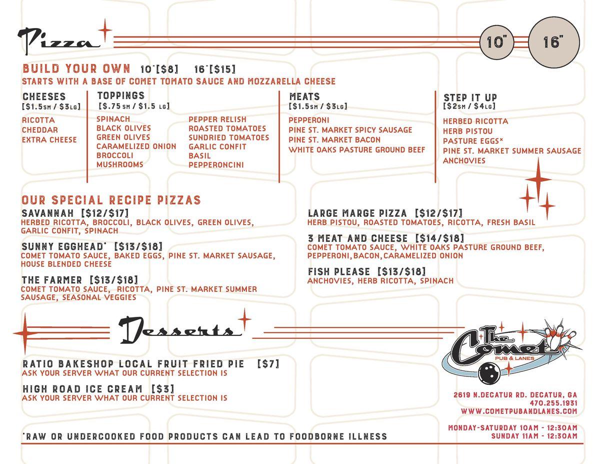 comet pub lanes menu 2