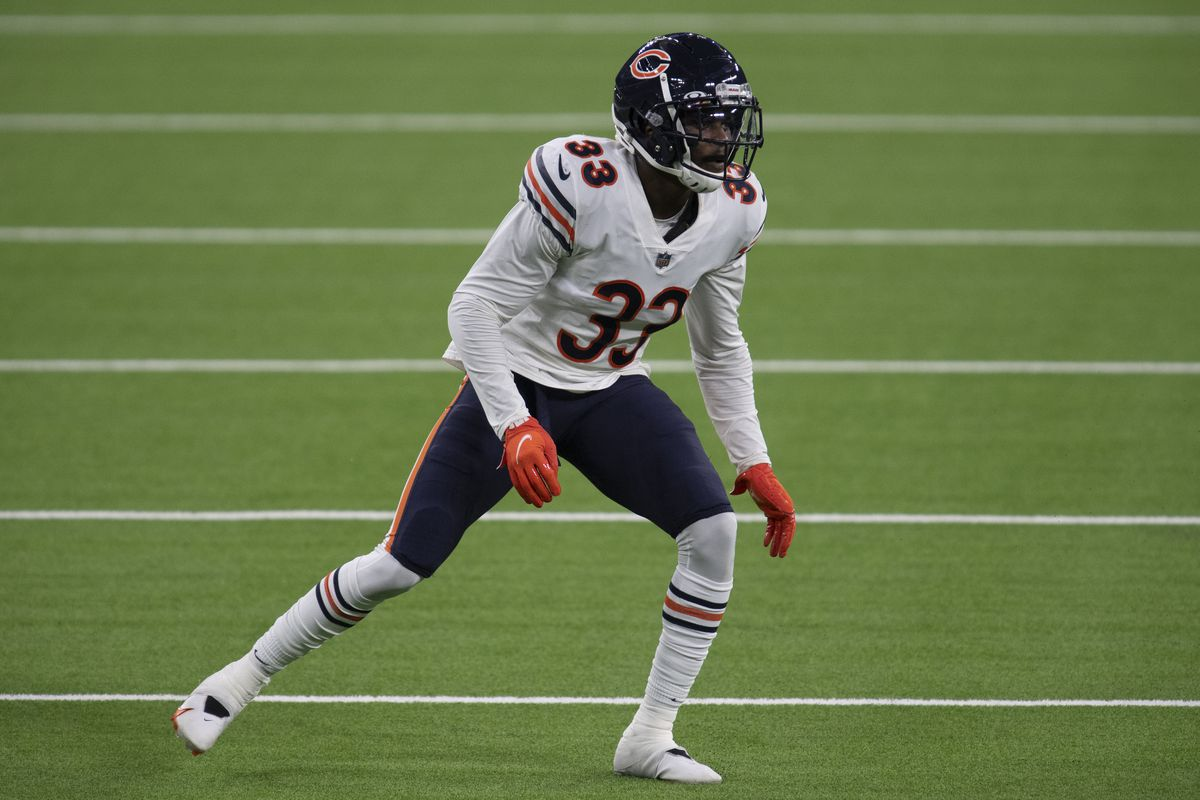 Chicago Bears cornerback Jaylon Johnson during an NFL football game against the Los Angeles Rams.
