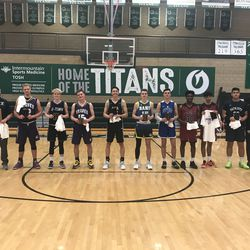 The 2A All-Stars pose with their plaques after Friday's coaches association all-star games at Olympus High School.