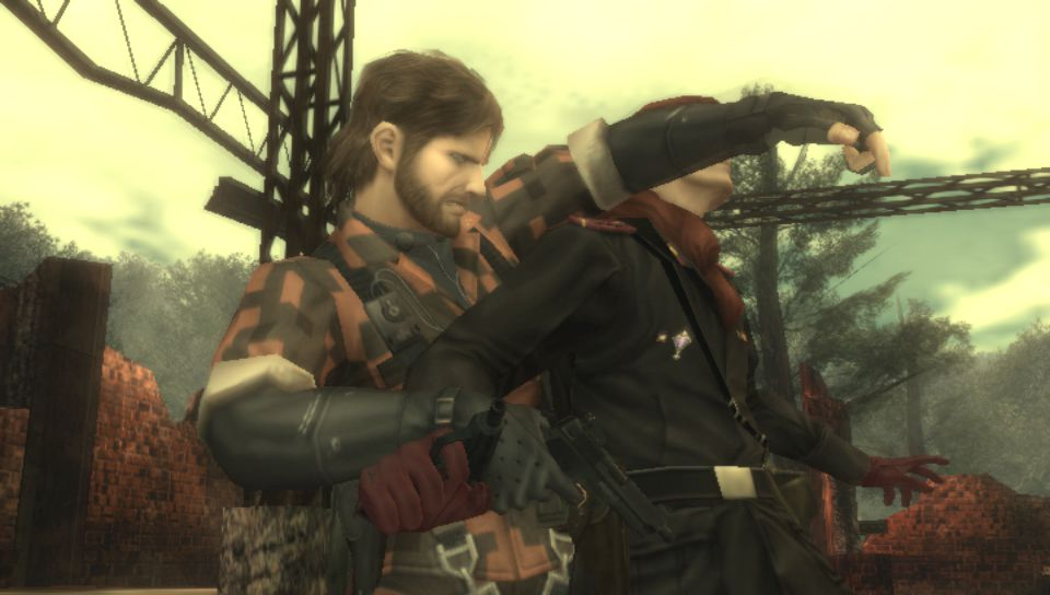 Metal Gear Solid 3: Subsistence - Snake engaging in hand-to-hand combat