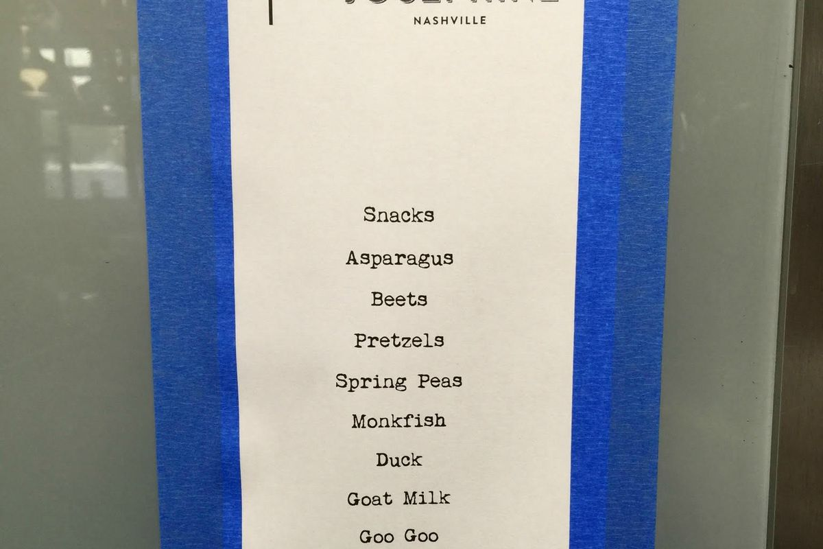 A sample menu from an early trial run of x x: Josephine.
