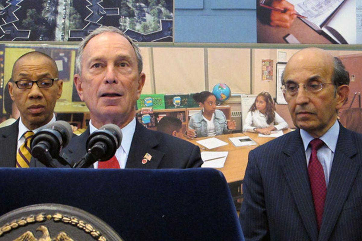 Former Mayor Michael Bloomberg, flanked by former Deputy Mayor Dennis Walcott and Schools Chancellor Joel Klein in 2010.