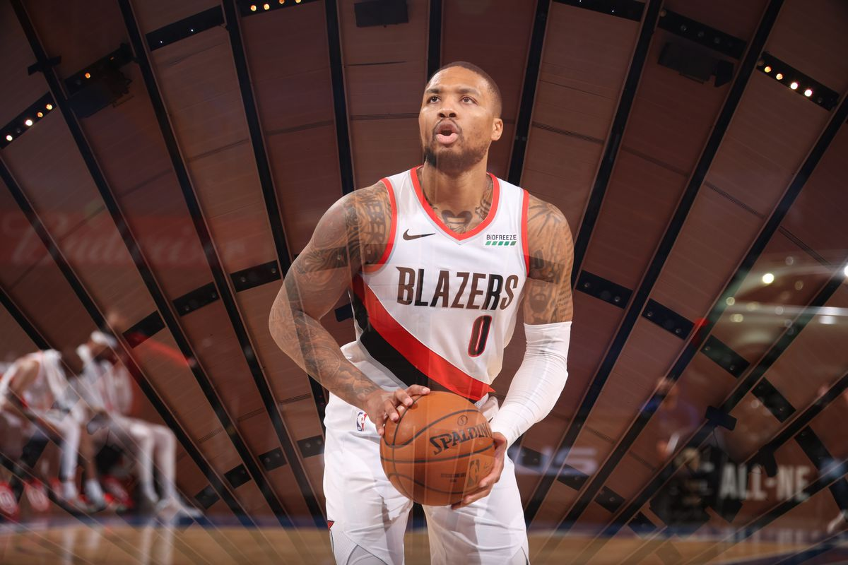 Damian Lillard of the Portland Trail Blazers shoots a free throw during the game against the New York Knicks on February 6, 2021 at Madison Square Garden in New York City, New York.