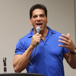 """Lou Ferrigno, who plays the Hulk in """"The Incredible Hulk,"""" talks during a press conference at Utah's first Comic Con at the Salt Palace Convention Center in Salt Lake City on Thursday, Sept. 5, 2013."""