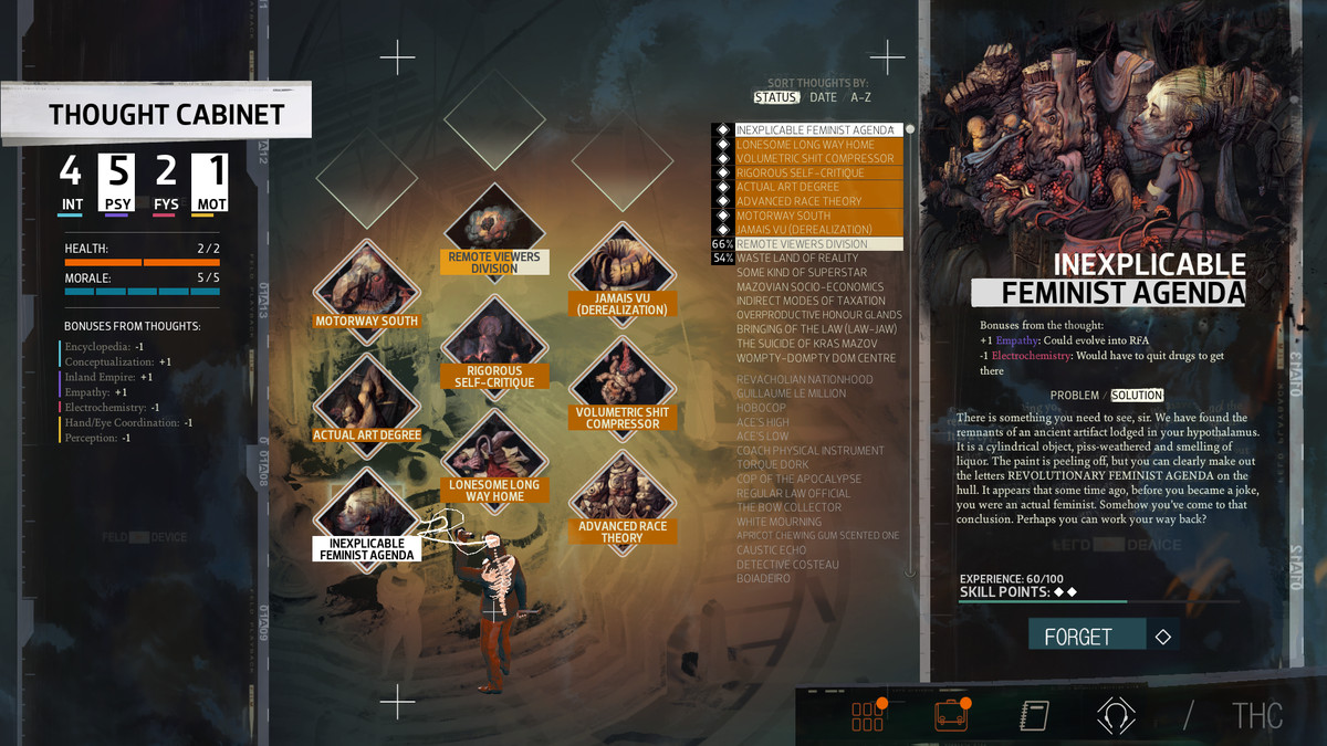 A screenshot showing off the Thought Cabinet in Disco Elysium