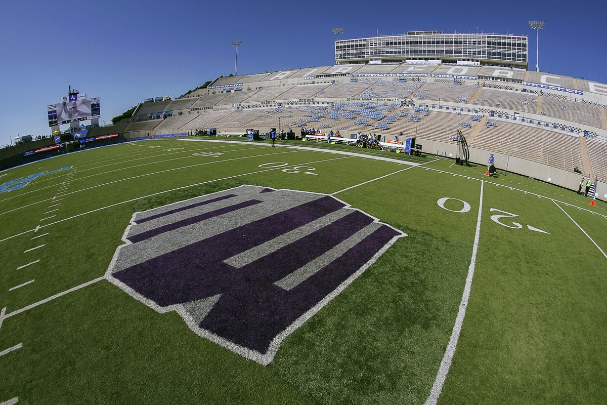The Mountain West conference logo at the 25-yard line is seen prior to a game between the Air Force Falcons and Georgia State Panthers at Falcon Stadium. The Falcons won 48-14.