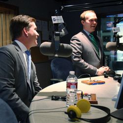 """Mark Crockett, left, and Ben McAdams, Salt Lake County mayoral candidates, talk during a break in their debate on """"The Doug Wright Show"""" on KSL NewsRadio in Salt Lake City, Monday, Oct. 22, 2012."""