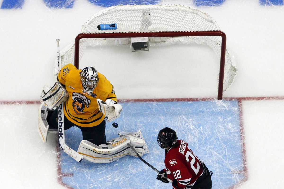 This is not a picture of Quinnipiac getting scored on by UConn, but pretend