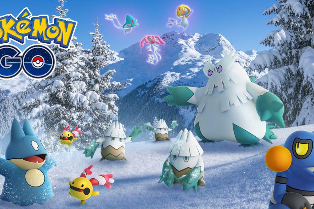 Pokémon Go holiday celebration artwork featuring a number of Sinnoh-region Pokémon.