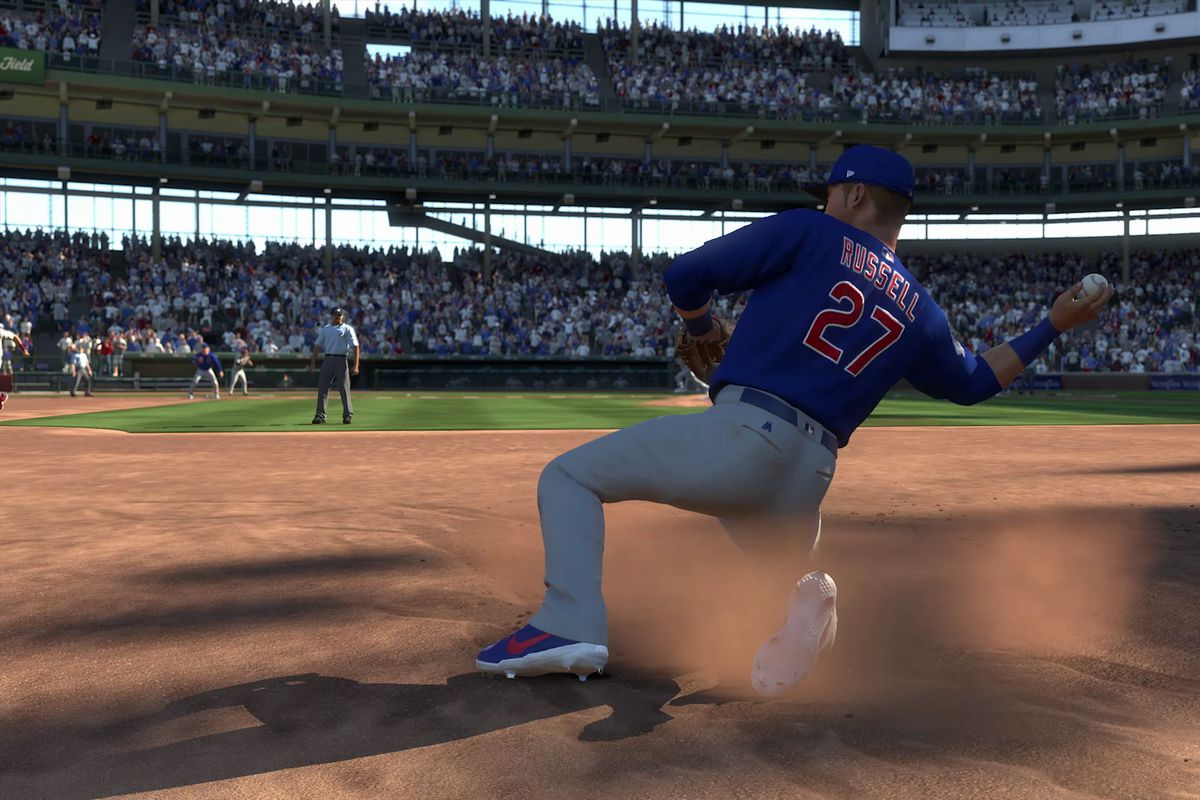 MLB The Show 18 - Addison Russell throwing to second base from his knees