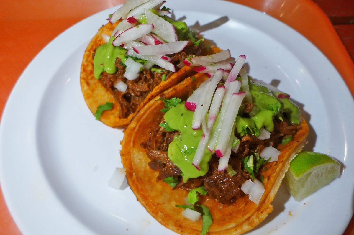 Two red saucy tacos with meat on a white china plate.
