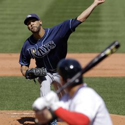 Tampa Bay Rays starting pitcher David Price pitches to Boston Red Sox center fielder Jacoby Ellsbury during the first inning of a baseball game at Fenway Park in Boston, Friday, April 13, 2012.