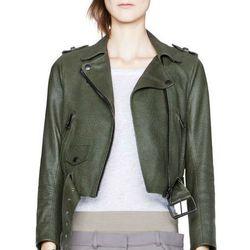 "<b>Acne</b> Mape Petite Forest Green leather jacket, <a href=""http://shop.acnestudios.com/shop/women/coats-jackets-1/mape-petite-forest-green.html#product-image-zoom-0"">$1,200</a>"