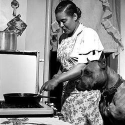 This 1949 photo released by Herman Leonard Photography shows Billie Holiday cooking a steak for her dog.