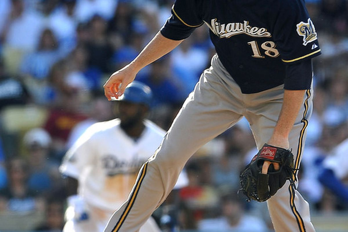 May 28, 2012; Los Angeles, CA, USA;   Milwaukee Brewers starting pitcher Shaun Marcum (18) throws a pitch in the first inning against the Los Angeles Dodgers at Dodger Stadium. Mandatory Credit: Jayne Kamin-Oncea-US PRESSWIRE