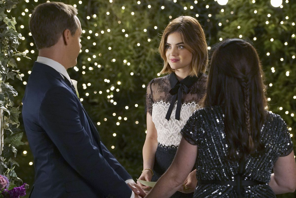 Lucy Hale as Aria Montgomery on Pretty Little Liars.