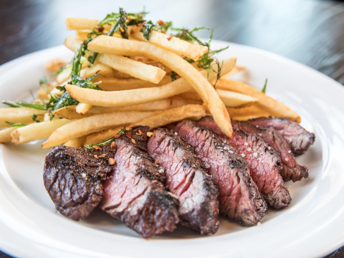 Golden Bull steak with fries.