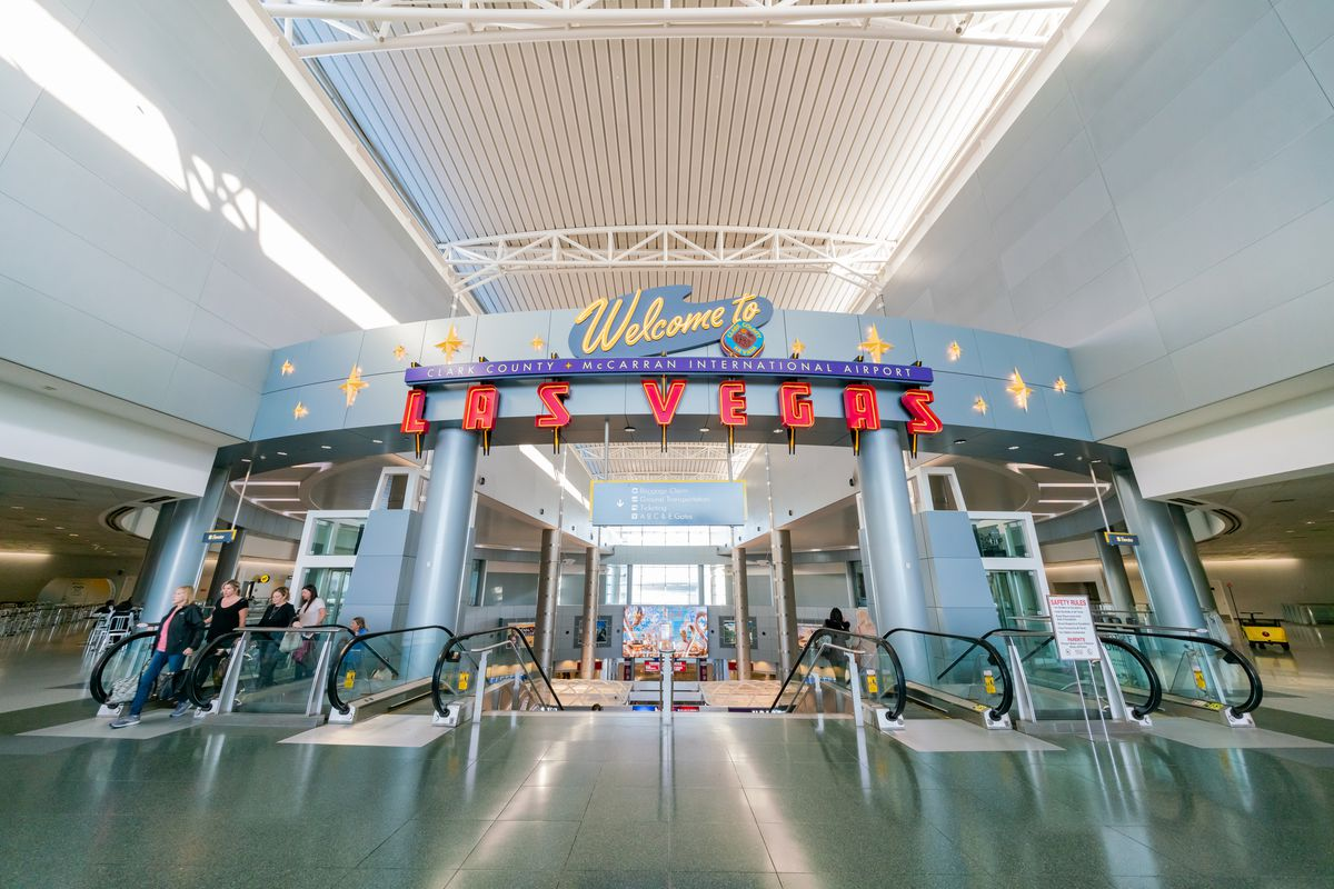 A welcome to Las Vegas sign at McCarran International Airport