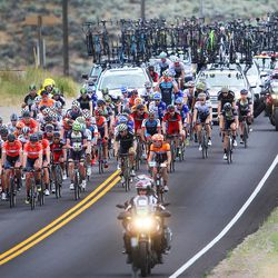 Riders and support team pass through the Francis and Woodland area in stage seven of the Larry H. Miller Tour of Utah near Woodland on Sunday, Aug. 7, 2016.