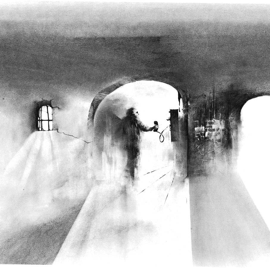 a black and white illustration of an eerie dark hallway with a single figure facing away from the viewer