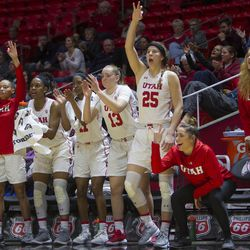 The Utah bench cheers following a play during the Utes' 84-68 loss to the Oregon Ducks at the Jon M. Huntsman Center in Salt Lake City on Sunday, Jan. 28, 2018.