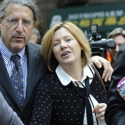 Anna Gristina exits Manhattan criminal court with her attorney Norman Pattis, left, Tuesday, Sept. 25, 2012, in New York.  The suburban mother of four charged with moonlighting as a multimillion-dollar madam pleaded guilty Tuesday to promoting prostitution.The Scotland-born Anna Gristina made the plea in Manhattan court. The judge said she'll be sentenced Nov. 20 to time served and probation as part of a plea deal.