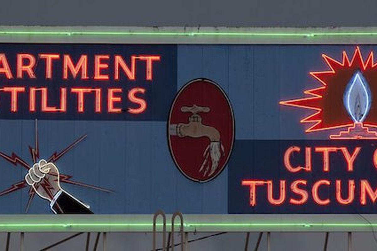 Neon Department of Utilities sign, Tuscumbia, Alabama. Photo by Carol Highsmith.