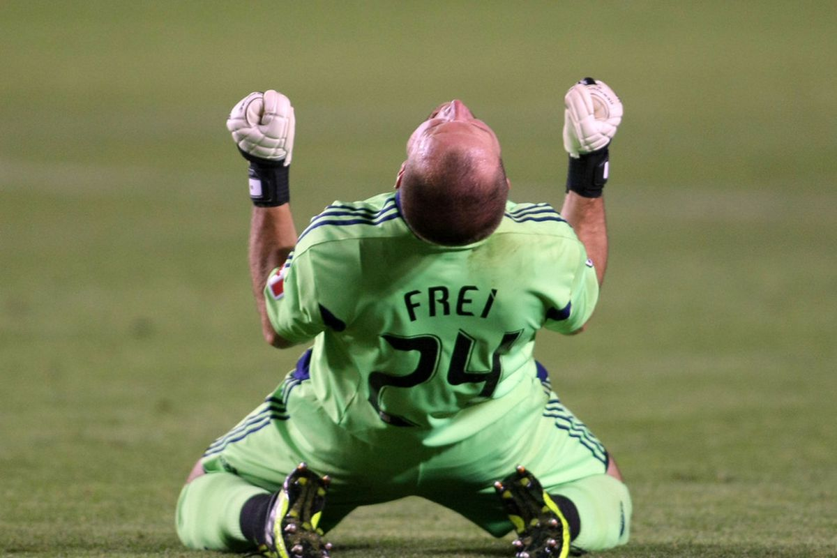 Stefan Frei was not quite this pumped about the game tonight but he made a handful of big saves to earn MOTM and a 2-2 draw.  So despite his deciding to wear #24 he proved he is #1