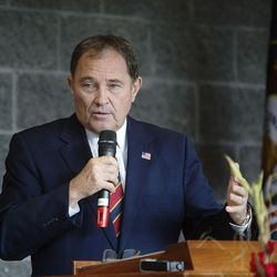 Gov. Gary Herbert speaks at the dedication of the Thomas S. Monson Lodge at the Hinckley Scout Ranch in the Uinta Mountains on Wednesday, Oct. 5, 2016.