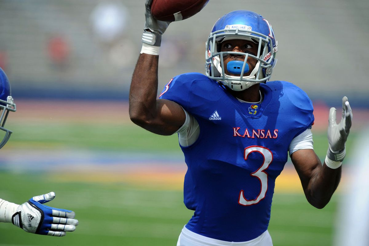 Apr 28, 2012; Lawrence, KS, USA; Kansas Jayhawks running back Tony Pierson (3) tries to catch a pass in the first half of the Spring Game at Memorial Stadium. Mandatory Credit: John Rieger-US PRESSWIRE