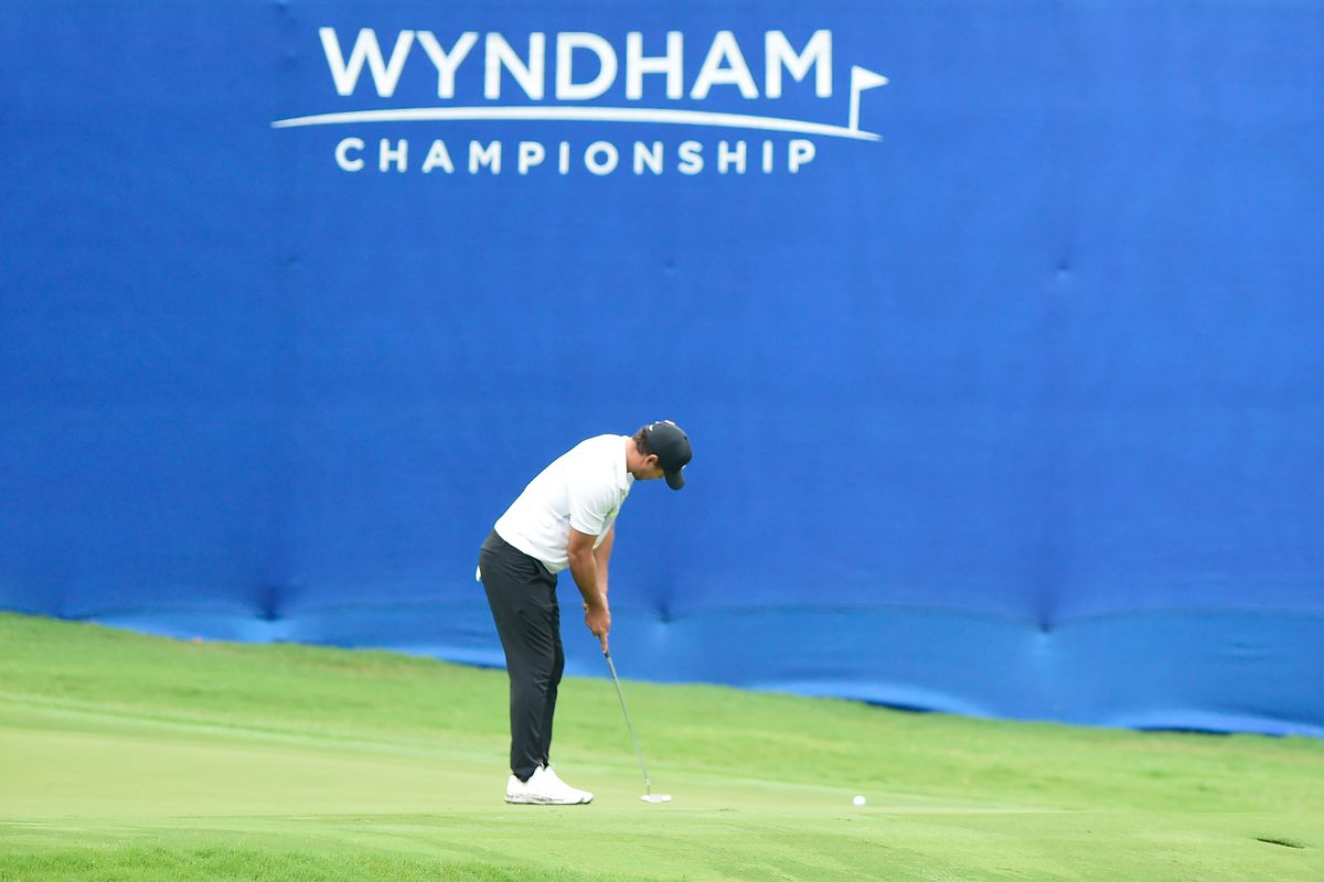Brooks Koepka of the United States putts on the 17th green during the first round of the Wyndham Championship at Sedgefield Country Club on August 13, 2020 in Greensboro, North Carolina.