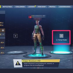 In <em>Fortnite</em> version 3.4, the Party Finder feature will search your Epic Games friends on other platforms.