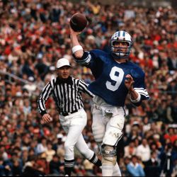 Brigham Young University quarterback Jim McMahon plays against the University of Utah in November 1981 in Salt Lake City.